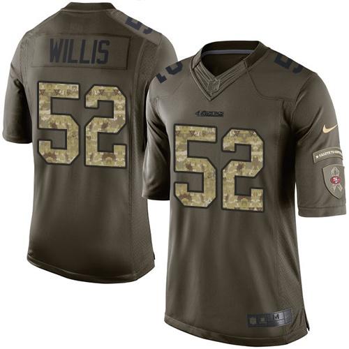 Men's Patrick Willis Green Elite Football Jersey: San Francisco 49ers #52 Salute to Service  Jersey