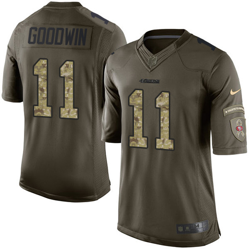 Men's Marquise Goodwin Green Elite Football Jersey: San Francisco 49ers #11 Salute to Service  Jersey