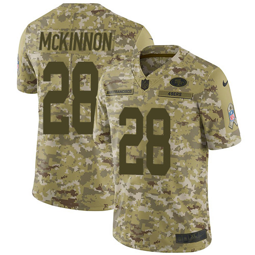 Youth Jerick McKinnon Camo Limited Football Jersey: San Francisco 49ers #28 2018 Salute to Service  Jersey