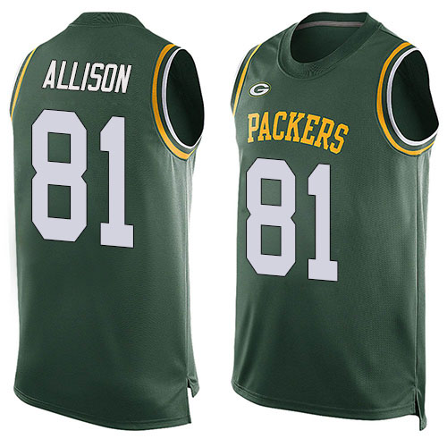 Men's Geronimo Allison Green Limited Football Jersey: Green Bay Packers #81 Player Name & Number Tank Top  Jersey