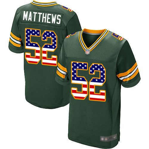 Men's Clay Matthews Green Home Elite Football Jersey: Green Bay Packers #52 USA Flag Fashion  Jersey