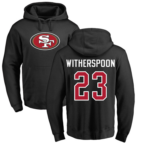 Ahkello Witherspoon Black Name & Number Logo Football : San Francisco 49ers #23 Pullover Hoodie