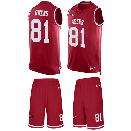 Men's Terrell Owens Red Limited Football Jersey: San Francisco 49ers #81 Tank Top Suit  Jersey