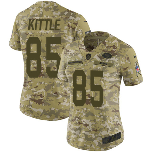 Women's George Kittle Camo Limited Football Jersey: San Francisco 49ers #85 2018 Salute to Service  Jersey