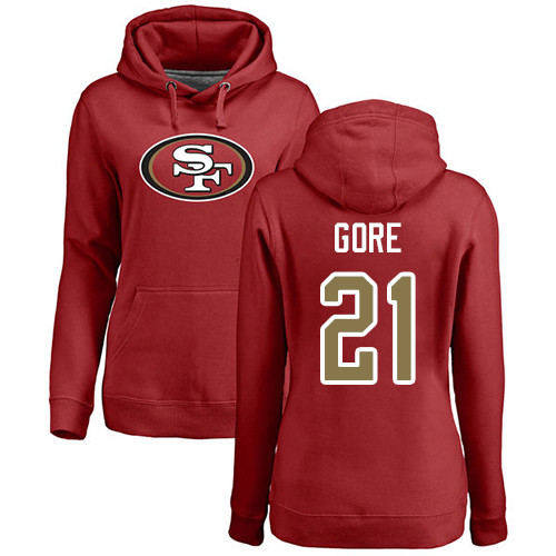Women's Frank Gore Red Name & Number Logo Football : San Francisco 49ers #21 Pullover Hoodie
