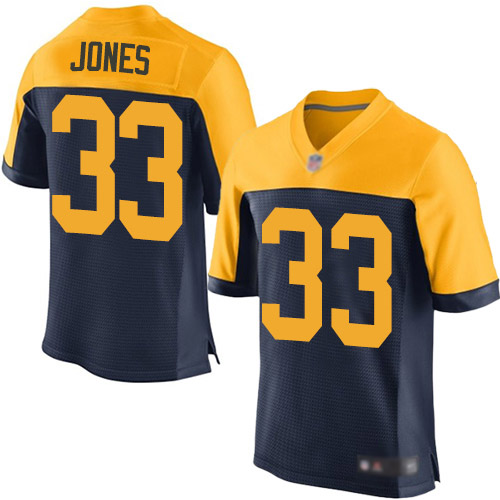Men's Aaron Jones Navy Blue Alternate Elite Football Jersey: Green Bay Packers #33  Jersey