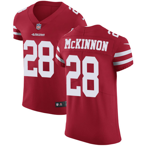Men's Jerick McKinnon Red Home Elite Football Jersey: San Francisco 49ers #28 Vapor Untouchable  Jersey