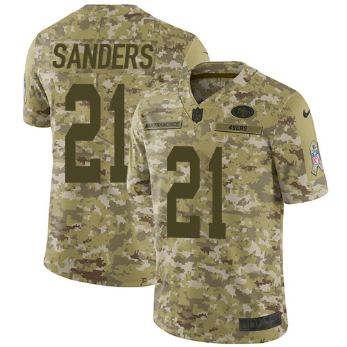Youth Deion Sanders Camo Limited Football Jersey: San Francisco 49ers #21 2018 Salute to Service  Jersey