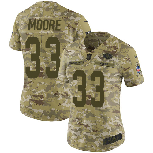 Women's Tarvarius Moore Camo Limited Football Jersey: San Francisco 49ers #33 2018 Salute to Service  Jersey