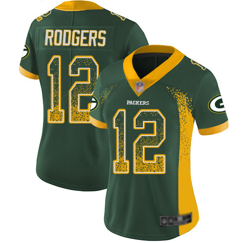 Women's Aaron Rodgers Green Limited Football Jersey: Green Bay Packers #12 Rush Drift Fashion  Jersey