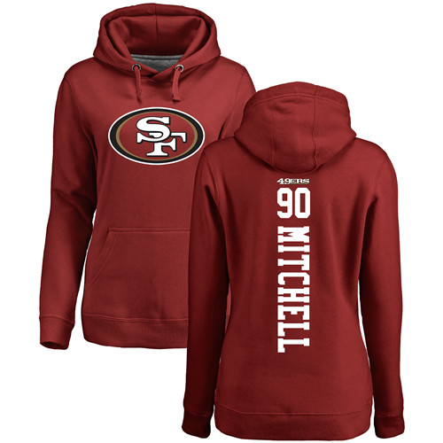 Women's Earl Mitchell Red Backer Football : San Francisco 49ers #90 Pullover Hoodie