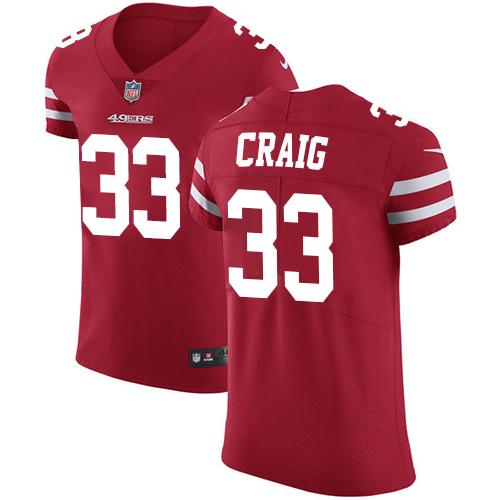 Men's Roger Craig Red Home Elite Football Jersey: San Francisco 49ers #33 Vapor Untouchable  Jersey