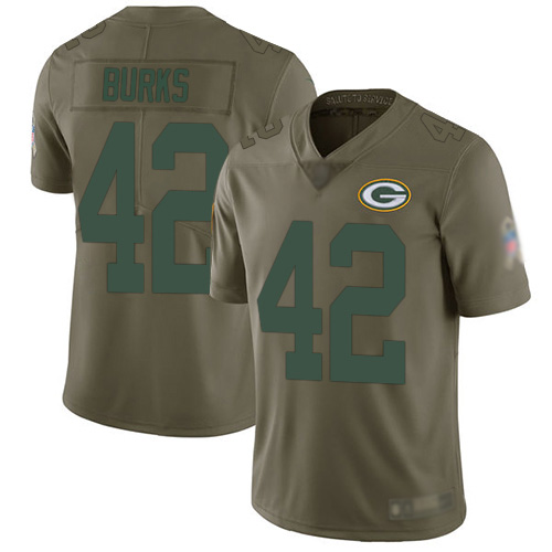 Youth Oren Burks Olive Limited Football Jersey: Green Bay Packers #42 2017 Salute to Service  Jersey