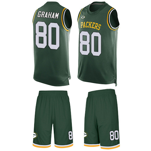 Men's Jimmy Graham Green Limited Football Jersey: Green Bay Packers #80 Tank Top Suit  Jersey