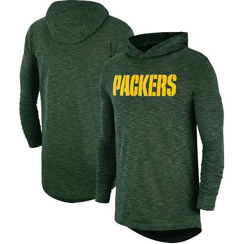 Football Men's  Green Bay Packers Green Sideline Slub Performance Hooded Long Sleeve T-shirt