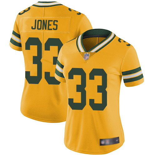 Women's Aaron Jones Gold Limited Football Jersey: Green Bay Packers #33 Rush Vapor Untouchable  Jersey