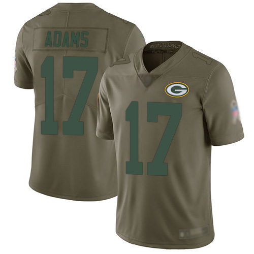 Men's Davante Adams Olive Limited Football Jersey: Green Bay Packers #17 2017 Salute to Service  Jersey