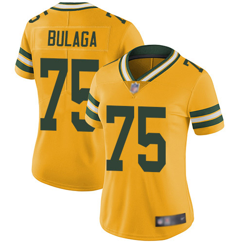 Women's Bryan Bulaga Gold Limited Football Jersey: Green Bay Packers #75 Rush Vapor Untouchable  Jersey