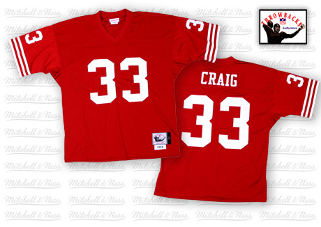 Men's Roger Craig Red Home Authentic Football Jersey: San Francisco 49ers #33 Throwback Mitchell and Ness Jersey
