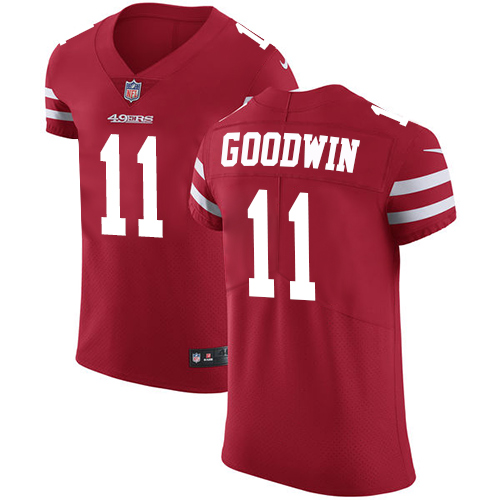 Men's Marquise Goodwin Red Home Elite Football Jersey: San Francisco 49ers #11 Vapor Untouchable  Jersey