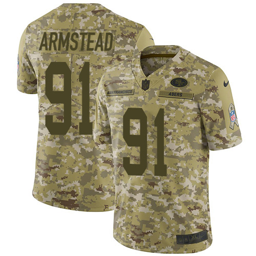 Youth Arik Armstead Camo Limited Football Jersey: San Francisco 49ers #91 2018 Salute to Service  Jersey