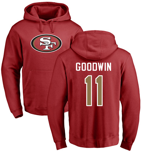 Marquise Goodwin Red Name & Number Logo Football : San Francisco 49ers #11 Pullover Hoodie