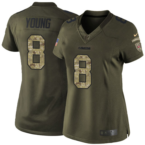 Women's Steve Young Green Elite Football Jersey: San Francisco 49ers #8 Salute to Service  Jersey