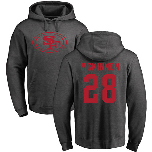 Jerick McKinnon Ash One Color Football : San Francisco 49ers #28 Pullover Hoodie