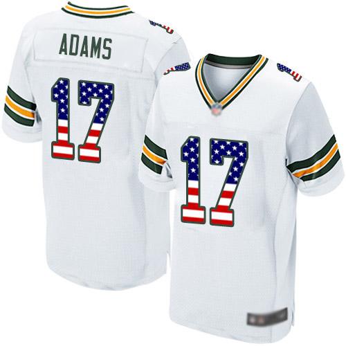 Men's Davante Adams White Road Elite Football Jersey: Green Bay Packers #17 USA Flag Fashion  Jersey