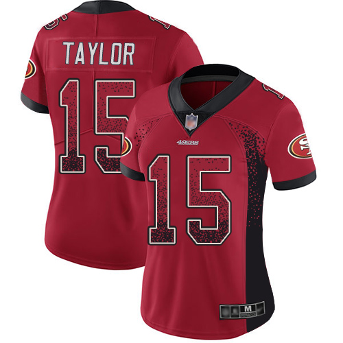 Women's Trent Taylor Red Limited Football Jersey: San Francisco 49ers #15 Rush Drift Fashion  Jersey