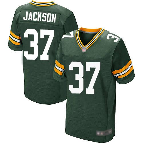 Men's Josh Jackson Green Home Elite Football Jersey: Green Bay Packers #37  Jersey