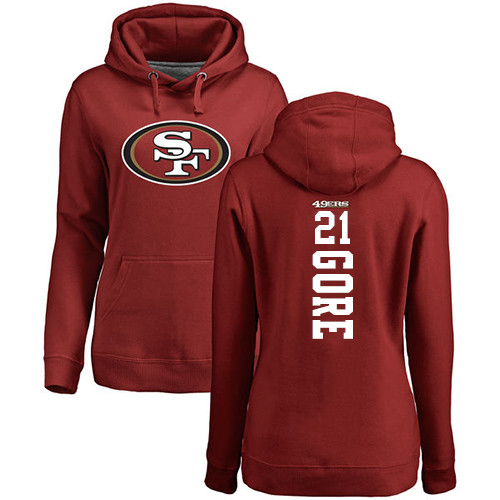 Women's Frank Gore Red Backer Football : San Francisco 49ers #21 Pullover Hoodie