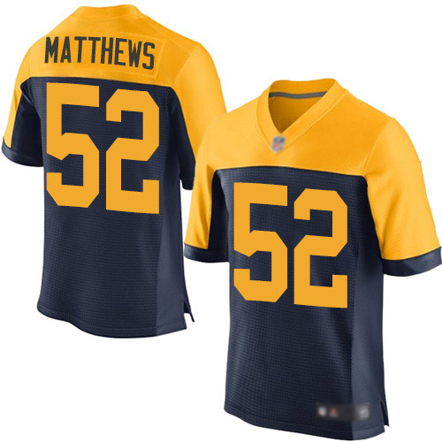 Men's Clay Matthews Navy Blue Alternate Elite Football Jersey: Green Bay Packers #52  Jersey
