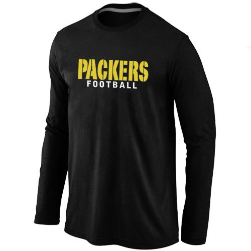 Green Bay Packers Authentic Font Long Sleeve Football T-Shirt - Black