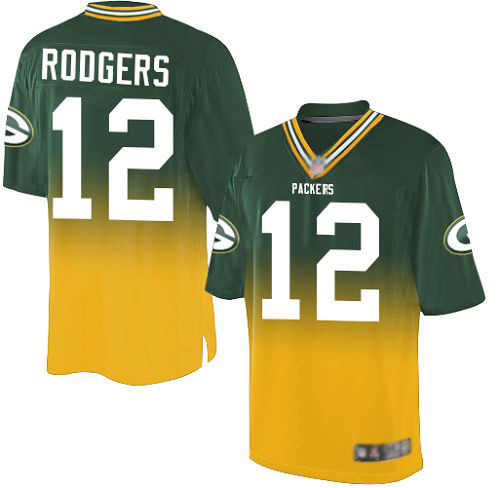 Men's Aaron Rodgers Green/Gold Elite Football Jersey: Green Bay Packers #12 Fadeaway  Jersey