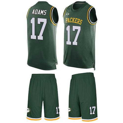 Men's Davante Adams Green Limited Football Jersey: Green Bay Packers #17 Tank Top Suit  Jersey