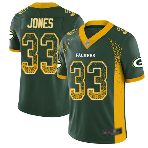 Men's Aaron Jones Green Limited Football Jersey: Green Bay Packers #33 Rush Drift Fashion  Jersey