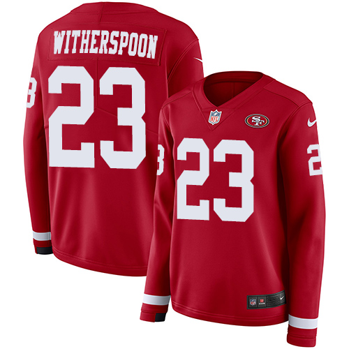Women's Ahkello Witherspoon Red Limited Football Jersey: San Francisco 49ers #23 Therma Long Sleeve  Jersey