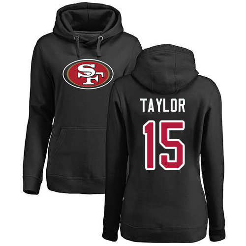 Women's Trent Taylor Black Name & Number Logo Football : San Francisco 49ers #15 Pullover Hoodie