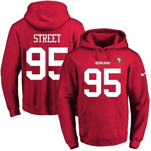 Football Men's  San Francisco 49ers #95 Kentavius Street Red Name & Number Pullover Hoodie