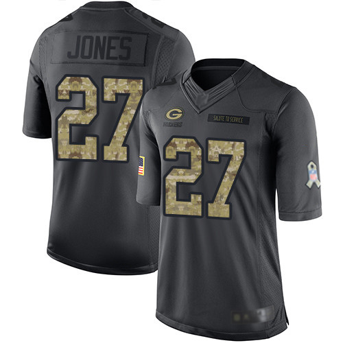 Youth Josh Jones Black Limited Football Jersey: Green Bay Packers #27 2016 Salute to Service  Jersey