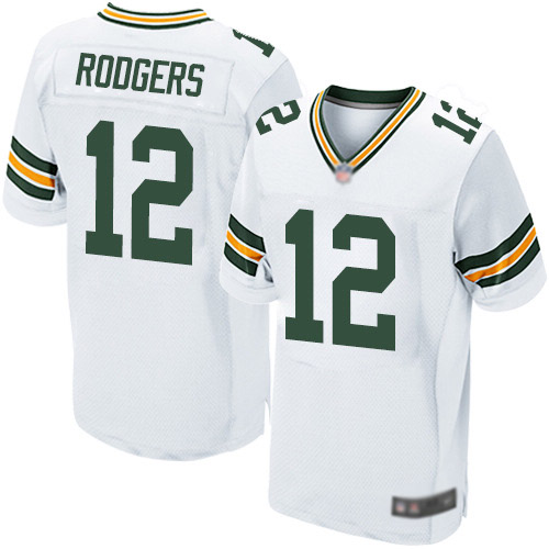 Men's Aaron Rodgers White Road Elite Football Jersey: Green Bay Packers #12  Jersey