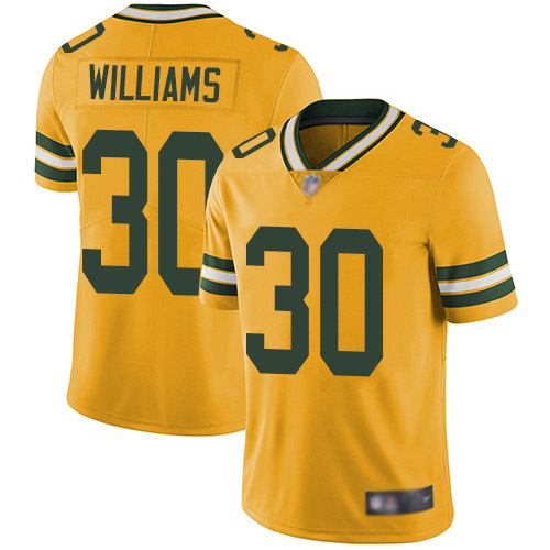 Youth Jamaal Williams Gold Limited Football Jersey: Green Bay Packers #30 Rush Vapor Untouchable  Jersey