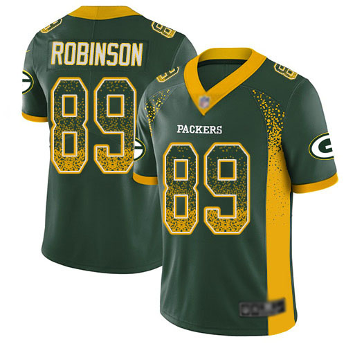 Youth Dave Robinson Green Limited Football Jersey: Green Bay Packers #89 Rush Drift Fashion  Jersey