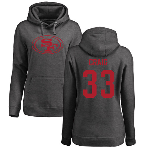 Women's Roger Craig Ash One Color Football : San Francisco 49ers #33 Pullover Hoodie