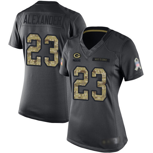 Women's Jaire Alexander Black Limited Football Jersey: Green Bay Packers #23 2016 Salute to Service  Jersey