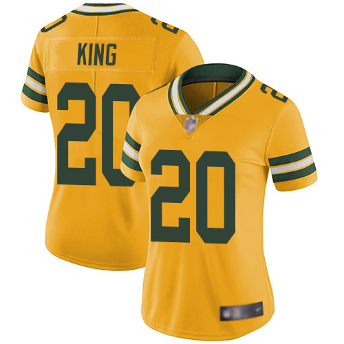 Women's Kevin King Gold Limited Football Jersey: Green Bay Packers #20 Rush Vapor Untouchable  Jersey