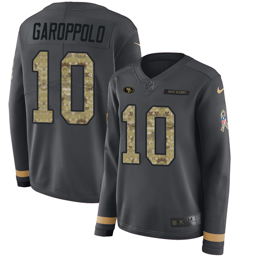 Women's Jimmy Garoppolo Black Limited Football Jersey: San Francisco 49ers #10 Salute to Service Therma Long Sleeve  Jersey