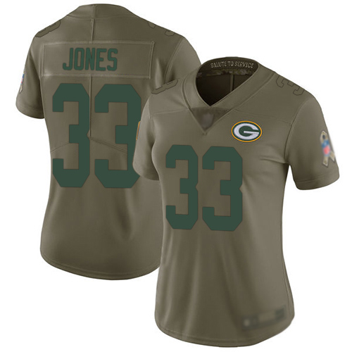 Women's Aaron Jones Olive Limited Football Jersey: Green Bay Packers #33 2017 Salute to Service  Jersey