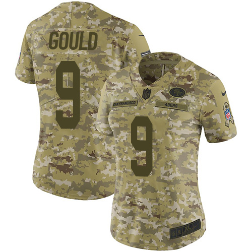 Women's Robbie Gould Camo Limited Football Jersey: San Francisco 49ers #9 2018 Salute to Service  Jersey